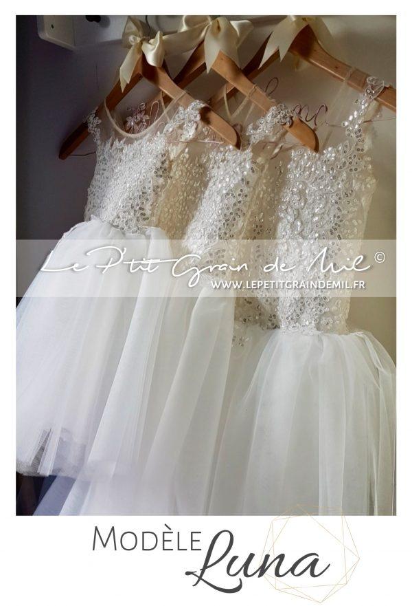 robe tutu demoiselle d'honneur cérémonie mariage en tulle ivoire dentelle dos nu mini mariée