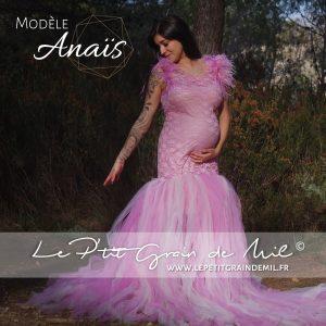 robe tutu maternité shooting photo dentelle tulle plumes vieux rose