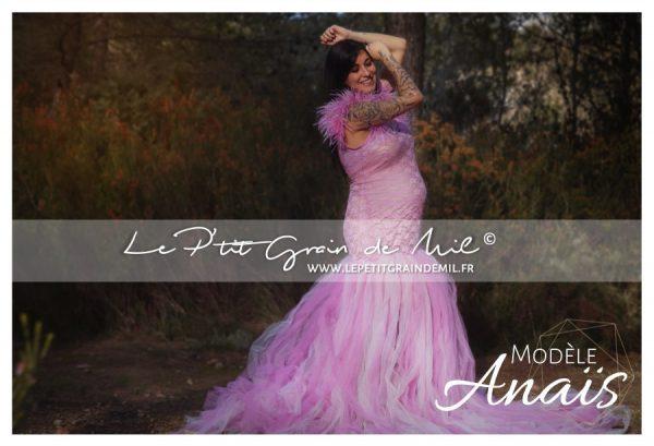 robe tutu sirène maternité vieux rose et tulle traine dentelle plumes