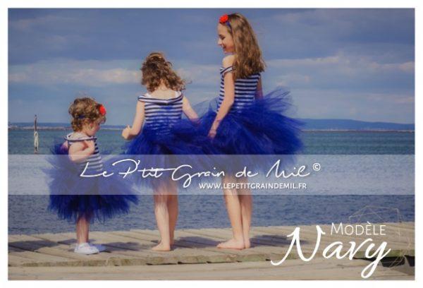 tenue de marin tutu bleu marine bébé enfant fille