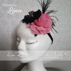 bandeau fille enfant femme streampunk gothique chic baroque plumes fleurs noir et rose