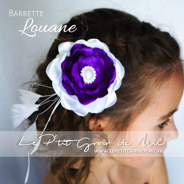 barrette fleur satin perle strass petite fille cérémonie pourpre blanc