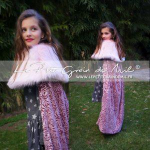 cape longue enfant déguisement de princesse médiévale velours fourrure costume fille mariage cérémonie