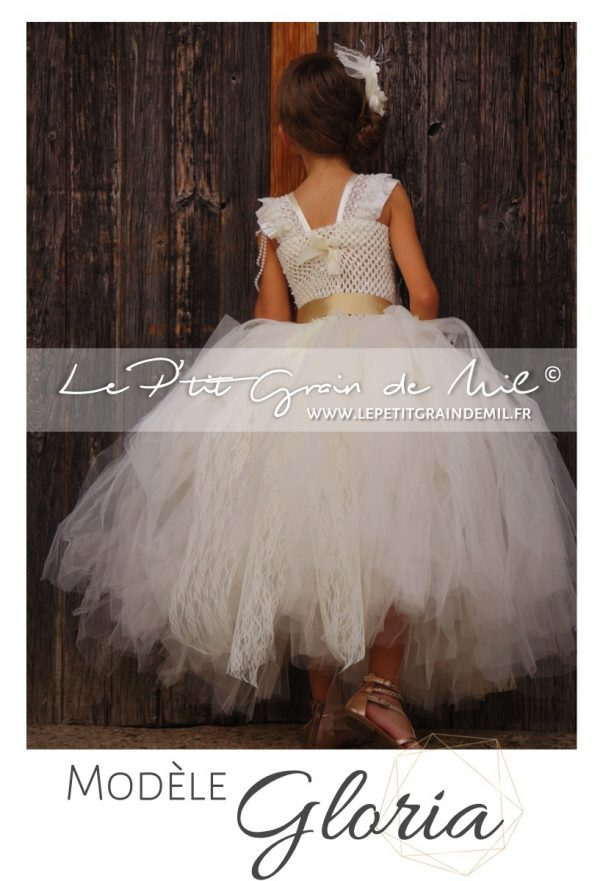 robe de cérémonie enfant fille baroque vintage shabby dentelle tulle