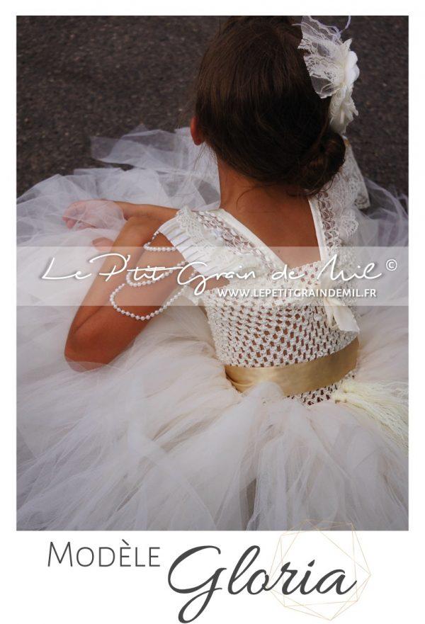 robe de cérémonie enfant fille demoiselle d'honneur baroque vintage shabby dentelle tulle