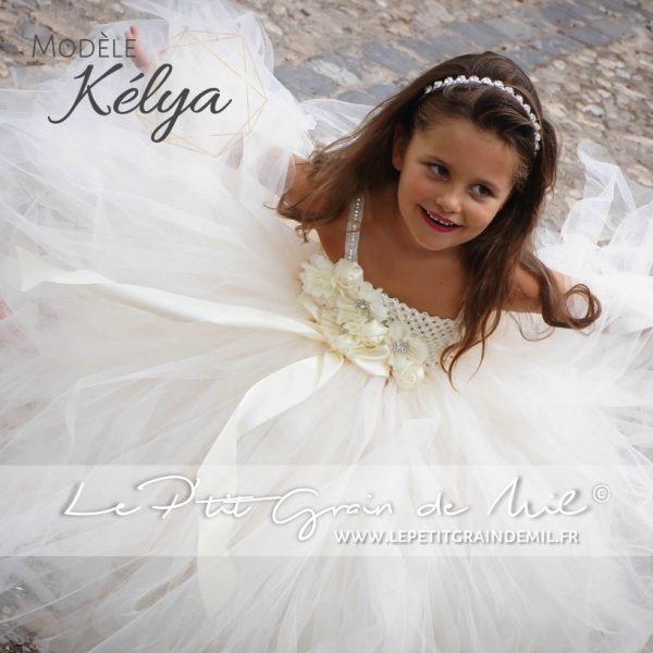 robe de cérémonie fille en tulle ivoire robe tutu longue pour enfant