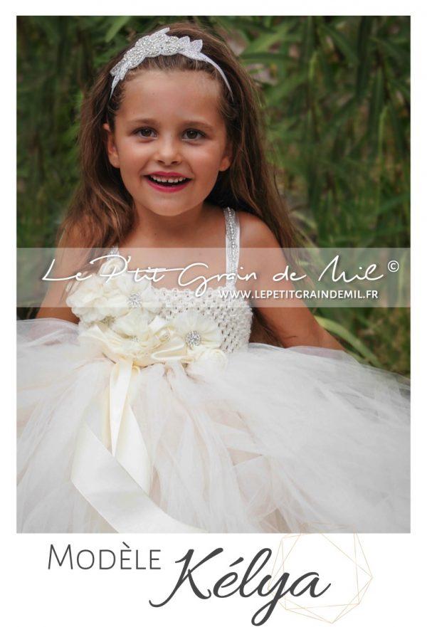 robe de demoiselle d'honneur pour enfant fille bébé strass brilant ivoire