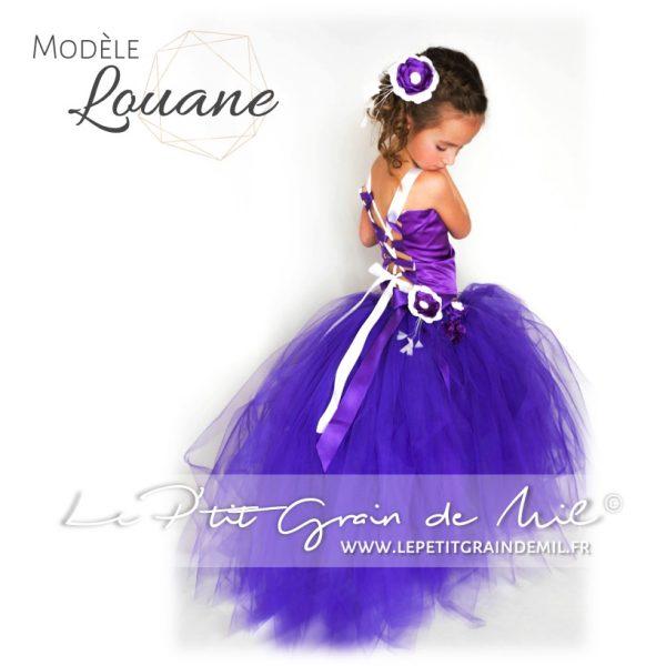 robe de mini miss princesse tutu bustier satin tulle violette
