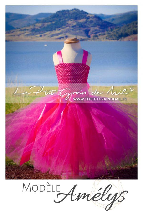 robe demoiselle d'honneur fille rose fushia en tulle longue robe tutu enfant cérémonie mariage