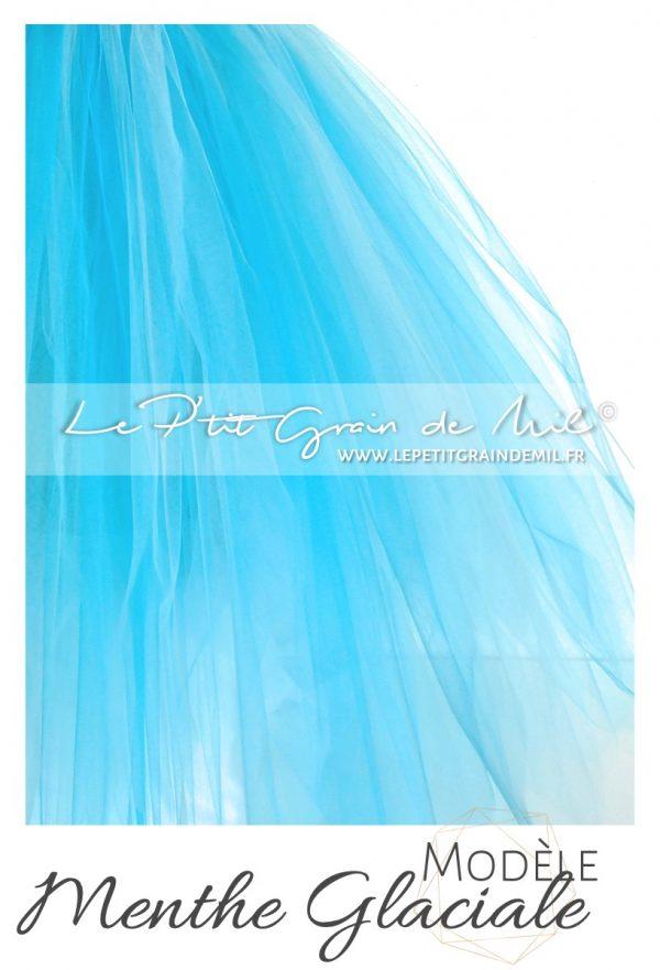robe tutu bébé fille en tulle bleu turquoise lagon
