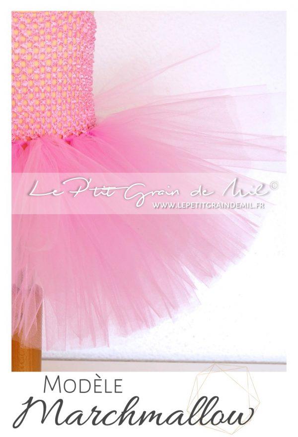 robe tutu bébé fille en tulle rose layette