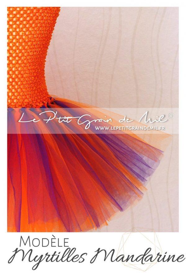 robe tutu bébé fille oiseau de paradis en tulle orange violet pourpre anniversaire shooting photo smash the cake