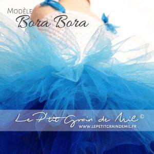 robe tutu cérémonie courte fille camaïeu de bleu turquoise tie and dye