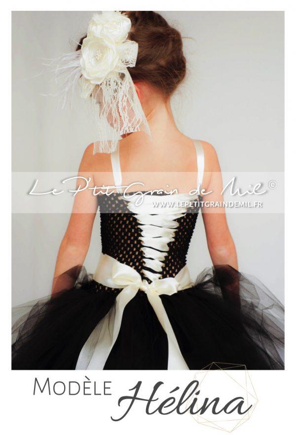 robe tutu cérémonie enfant demoiselle d'honneur fille streampunk gothique chic noire ivoire