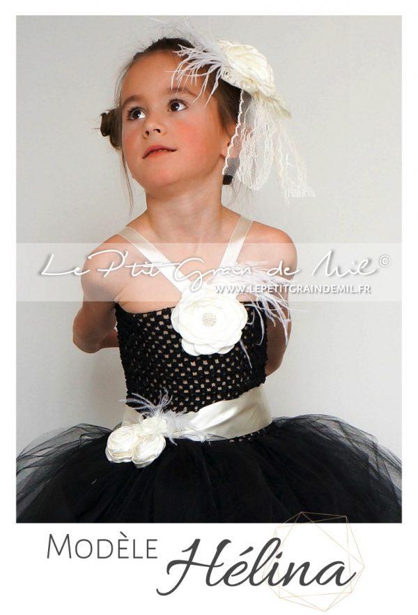 robe tutu cérémonie fille demoiselle d'honneur enfant streampunk gothique chic noire ivoire