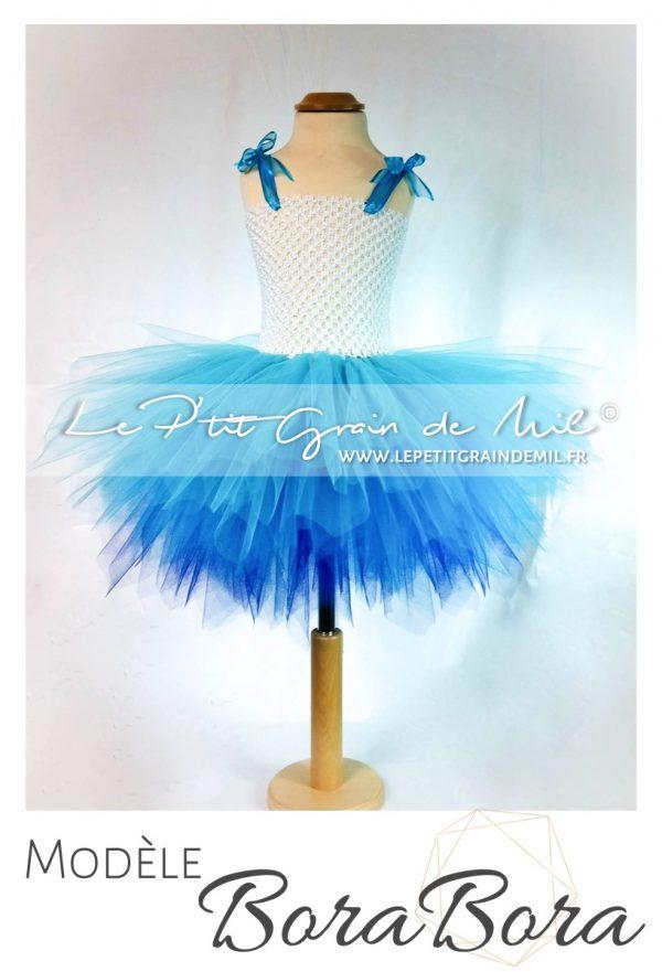 robe tutu courte fille camaïeu de bleu turquoise tie and dye