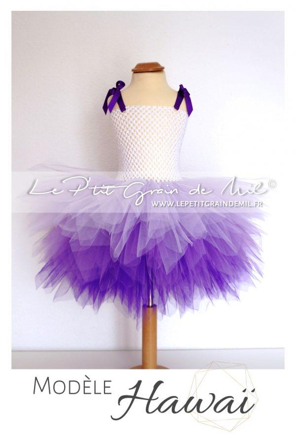 robe tutu courte fille camaïeu de violet lavande pourpre mauve tie and dye