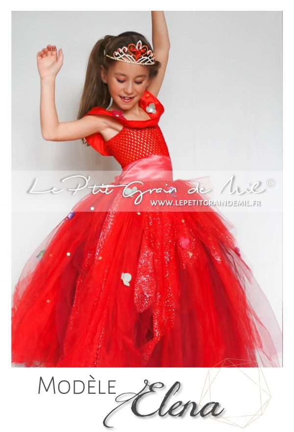 robe tutu déguisement de princesse disney elena of avalor costume en tulle avec diadème
