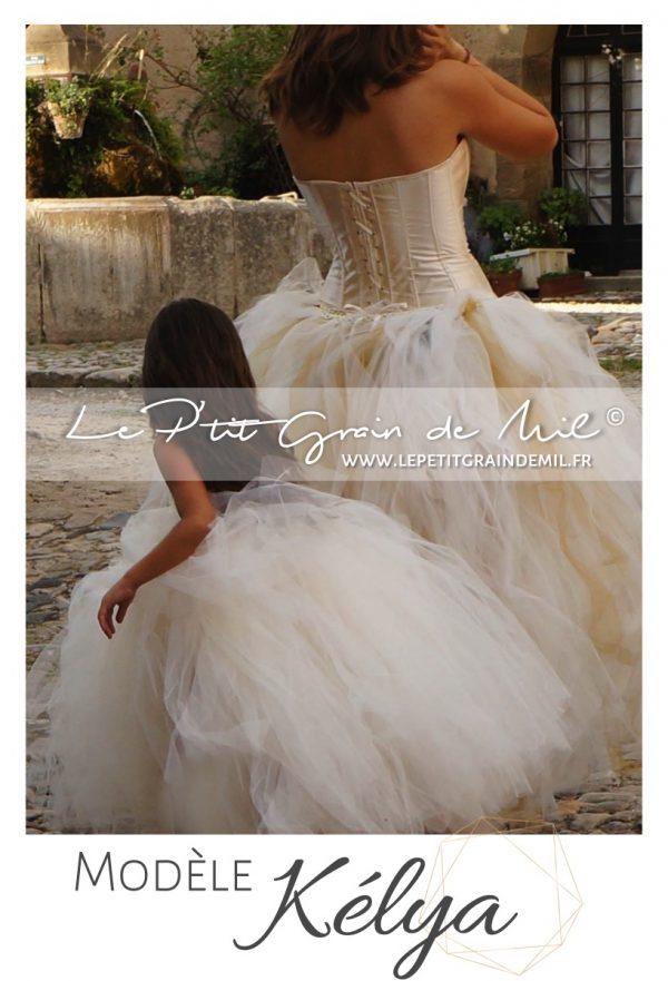 robe tutu de cérémonie fille demoiselle d'honneur enfant en tulle cortege ivoire mariage princesse chic