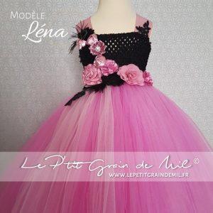 robe tutu de ceremonie enfant fille gothique baroque steampunk vieux rose et noir pour petite fille