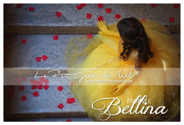 robe tutu de la belle et la bête enfant en tulle jaune film 2017 emma watson