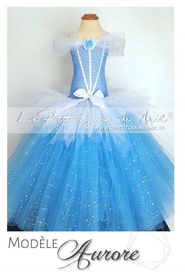 robe tutu de princesse bleue belle au bois dormant déguisement disney aurore
