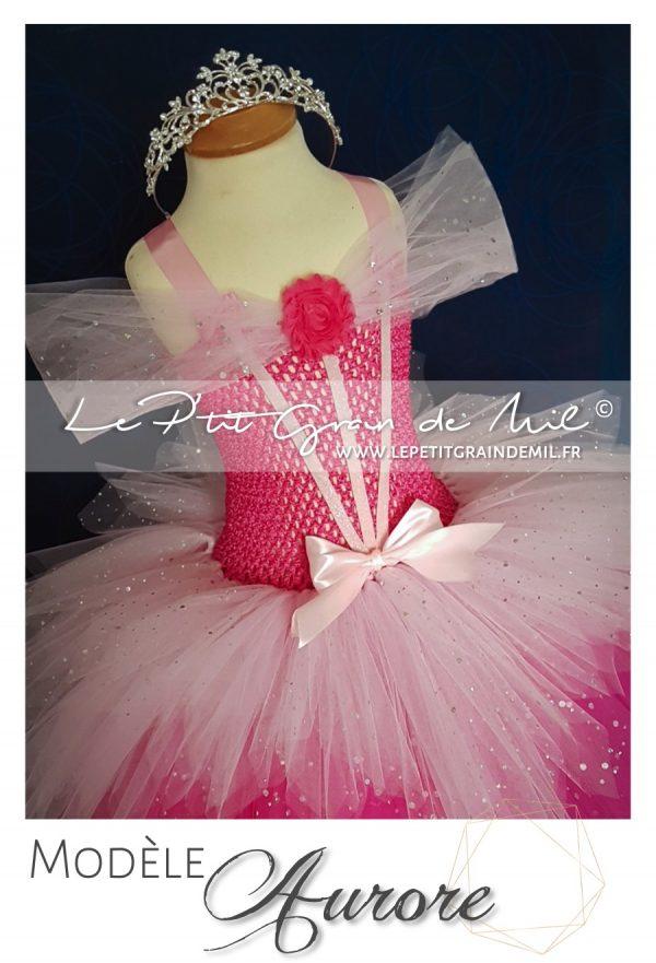 robe tutu de princesse rose belle au bois dormant déguisement disney aurore