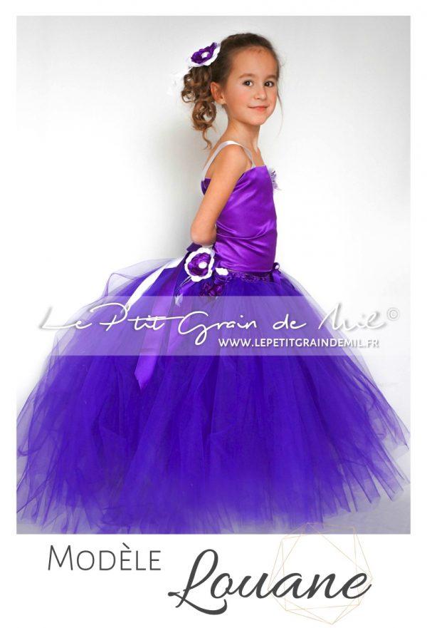 robe tutu demoiselle d'honneur bustier tenue de princesse violette