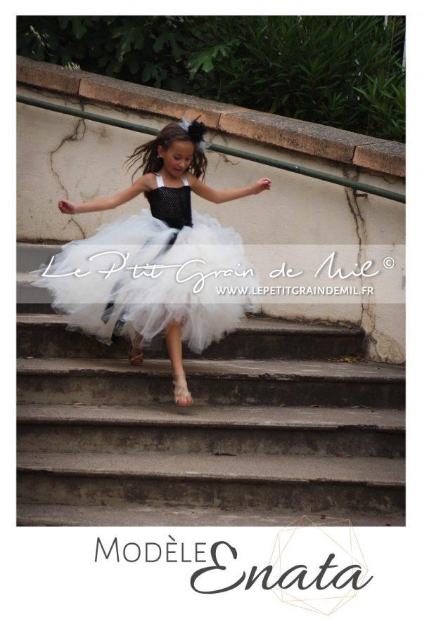 robe tutu demoiselle d'honneur cérémonie enfant princesse mariage noir et ivoire