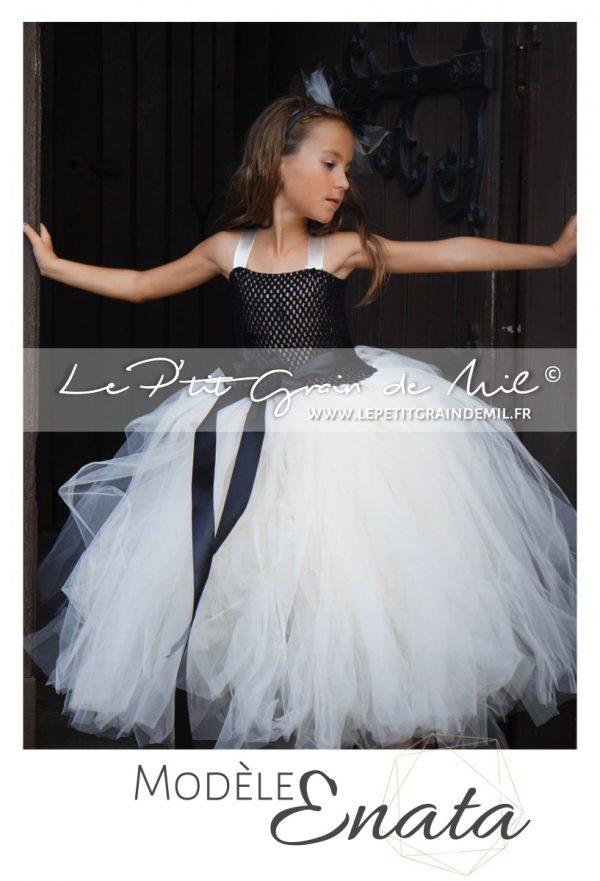 robe tutu demoiselle d'honneur cérémonie noir et ivoire blanche streampunk gothique