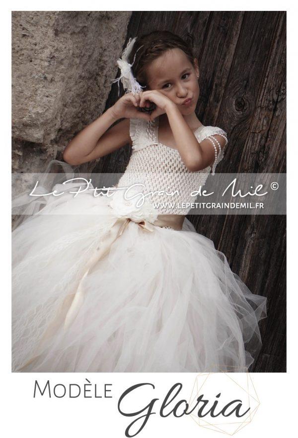 robe tutu demoiselle d'honneur enfant gothique baroque chic tulle et dentelle