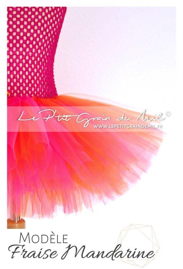 robe tutu en tulle bébé fille rose fushia