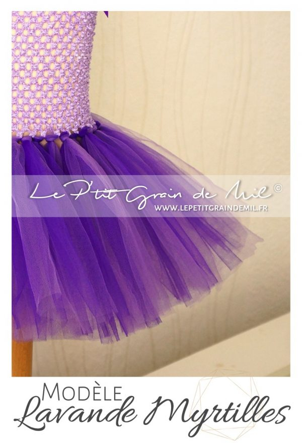 robe tutu en tulle fillette lavande pourpre violet mauve