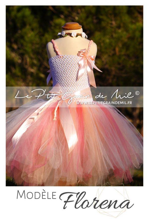 robe tutu fille demoiselle d'honneur bohème champêtre vintage robe cérémonie enfant