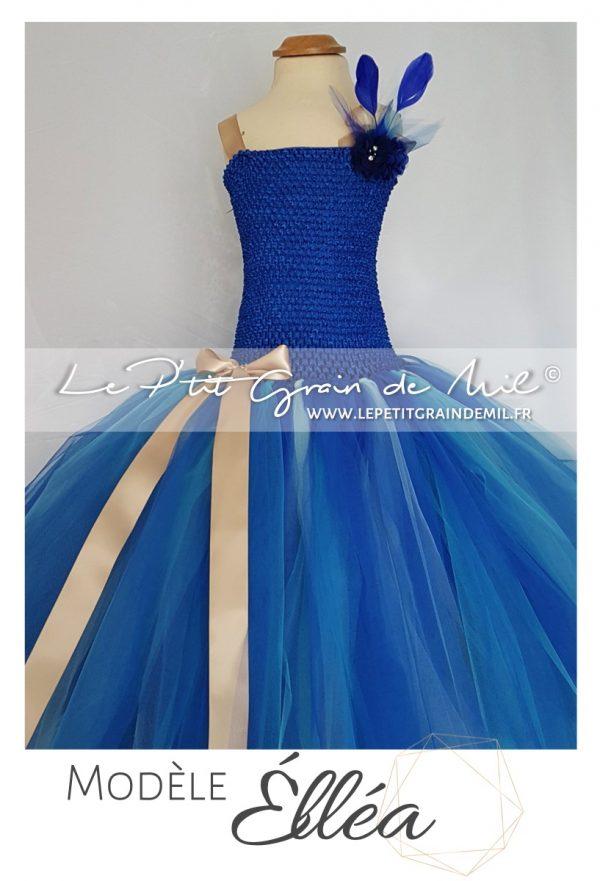 robe tutu longue cérémonie fille demoiselle d'honneur enfant bleu roi turquoise or