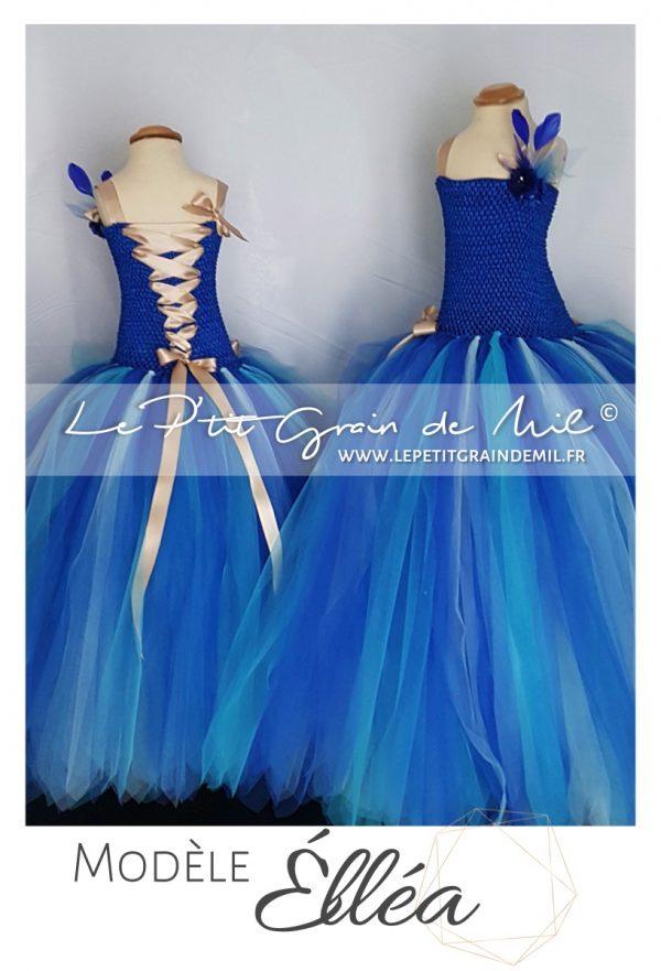 robe tutu longue cérémonie princesse fille demoiselle d'honneur enfant bleu or