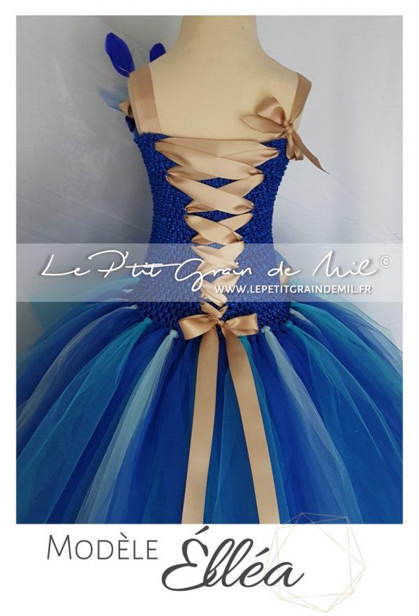 robe tutu longue demoiselle d'honneur fille mariage enfant bleu or