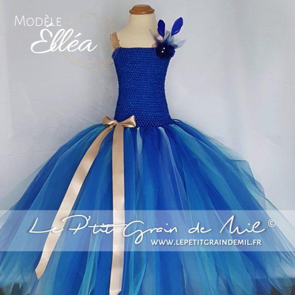 robe tutu longue en tulle bleu turquoise bébé fille