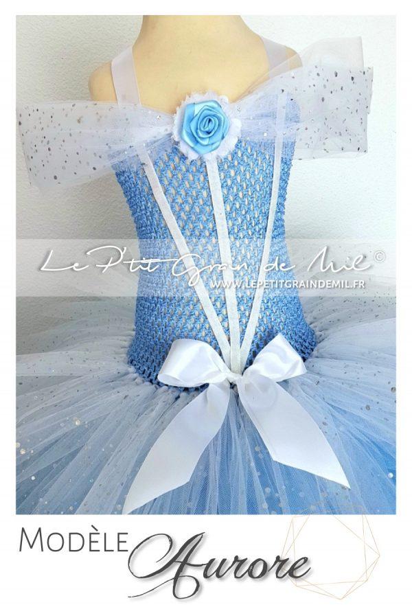 robe tutu princesse bleue belle au bois dormant déguisement disney aurore
