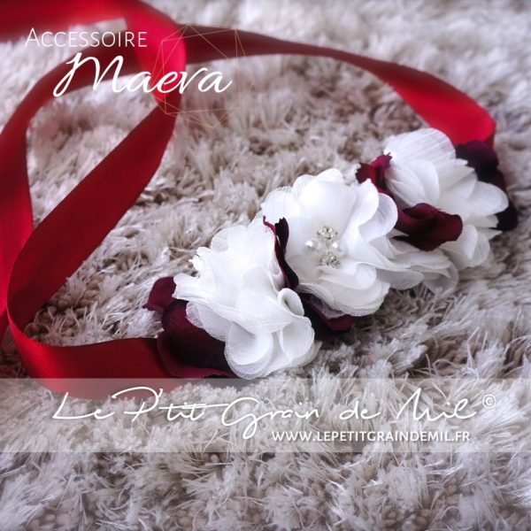 accessoire cheveux mariage mariée fille enfant couronne florale blanc et bordeaux