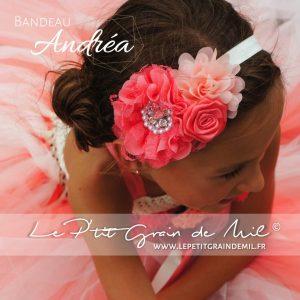 bandeau accessoire cheveux bébé fille enfant cérémonie corail pêche ivoire rose
