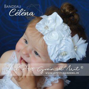 bandeau baptême bébé fille blanc ivoire strass perle fleur