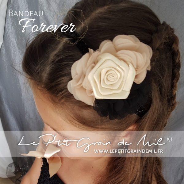 bandeau cheveux streampunk gothique noir et beige mariage cérémonie enfant fille