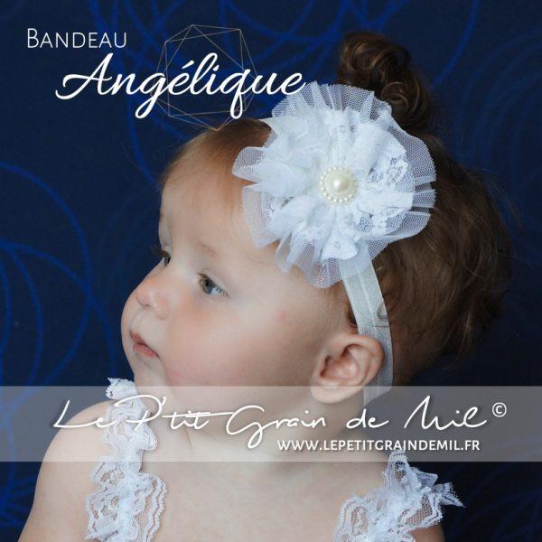 bandeau de baptême bébé blanc dentelle fleur perle