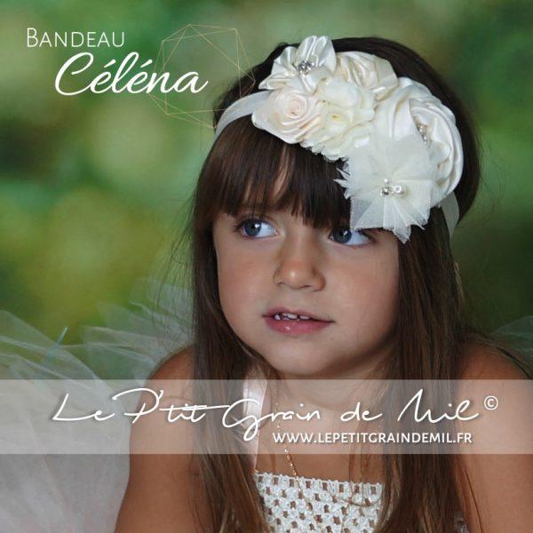 bandeau de baptême bébé blanc ivoire fleur strass perles