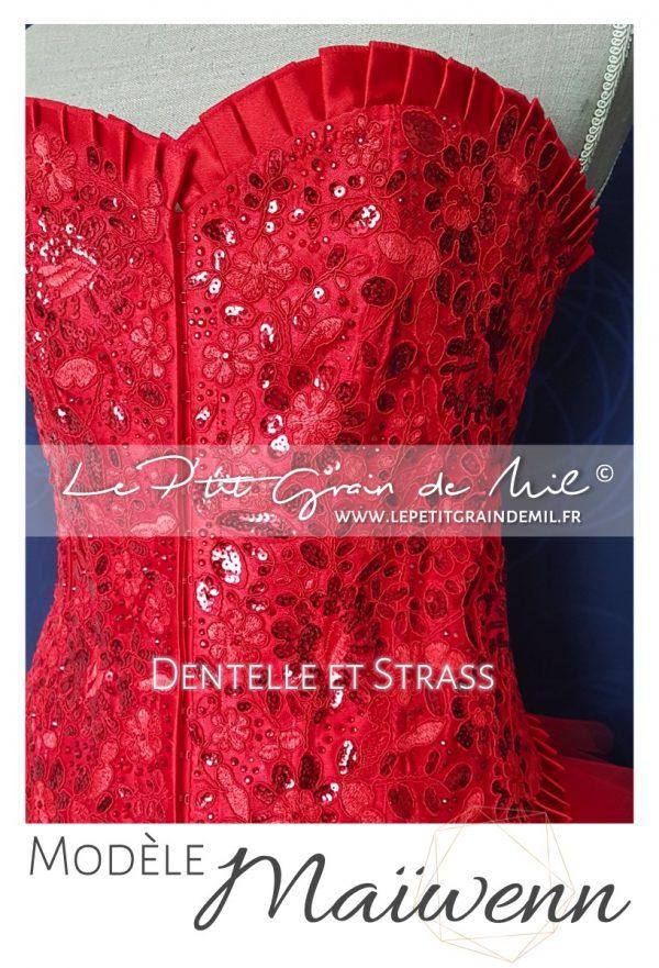 bustier corset femme rouge blanc noir dentelle sequin strass jupe tutu femme mouchoir de tulle bouffant mariage cérmonie robe de mariée