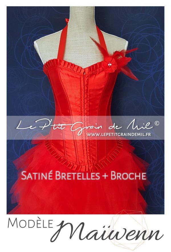 bustier corset femme rouge satin plumes sequin strass chic original soirée mariage cérémonie robe de mariée