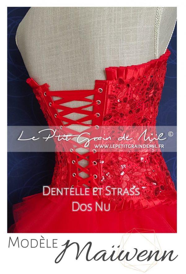 bustier femme rouge dentelle sequin strass jupe tutu tulle femme mouchoir de tulle bouffant mariage cérmonie robe de mariée