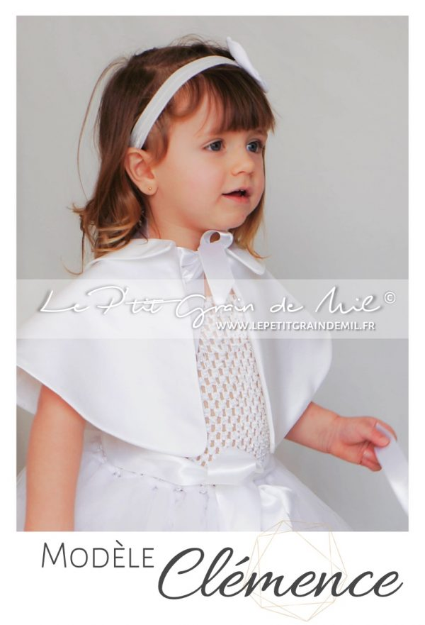 cape courte bapteme bébé fille chaperon blanc mariage cérémonie enfant