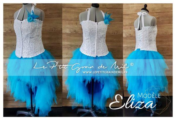jupe tutu asymétrique en mouchoirs de tulle blanc turquoise bustier mariage mariée cérémonie strass